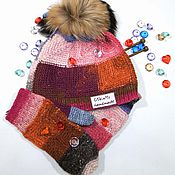 Аксессуары handmade. Livemaster - original item Knitted set hat c fur POM-POM and mittens from NORO. Handmade.
