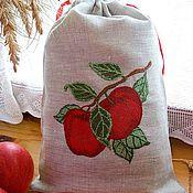 """Для дома и интерьера ручной работы. Ярмарка Мастеров - ручная работа Льняной мешочек """"Наливные яблочки"""". Handmade."""