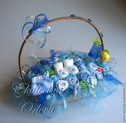 """Подарки для новорожденных, ручной работы. Ярмарка Мастеров - ручная работа. Купить Букет из детской одежды """"Маленький принц"""". Handmade. Голубой"""