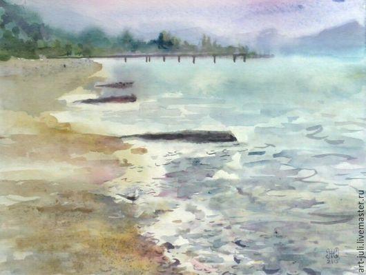 """Пейзаж ручной работы. Ярмарка Мастеров - ручная работа. Купить картина акварелью """"Море после дождя"""". Handmade. Морской пейзаж"""