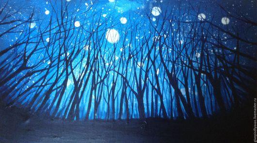 Пейзаж ручной работы. Ярмарка Мастеров - ручная работа. Купить SALE Ночная мистерия. Handmade. Синий, луна, деревья, мистика