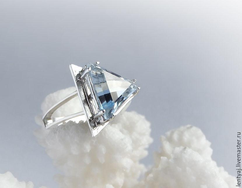 Серебряное кольцо с голубым топазом, Кольца, Пенза, Фото №1