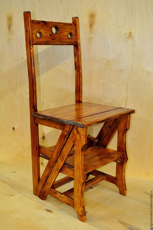 Мебель ручной работы. Ярмарка Мастеров - ручная работа. Купить Стул-стремянка из массива сосны. Handmade. Коричневый, массив дерева