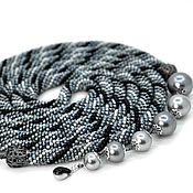 Украшения handmade. Livemaster - original item Lariat Stylish grey beaded decoration. Handmade.
