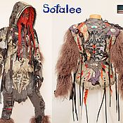 Одежда handmade. Livemaster - original item Genuine leather jacket, llama fur, removable hood.. Handmade.