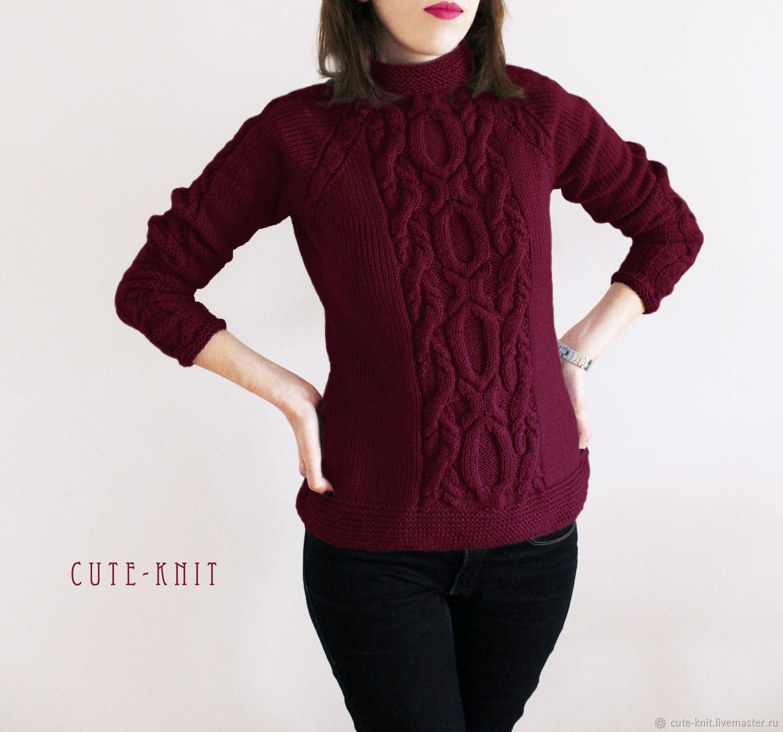 бордовый женский свитер вязаный с рельефным узором купить в