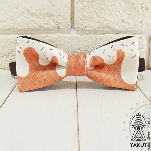 Галстуки, бабочки ручной работы. Ярмарка Мастеров - ручная работа. Купить Галстук бабочка Мороженка атлас / бабочка-галстук коричневая яркая. Handmade.
