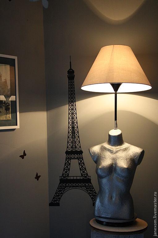"""Освещение ручной работы. Ярмарка Мастеров - ручная работа. Купить """"Парижанка"""". Handmade. Бюст, для мужчин, асфальт, украшение интерьера, дерево"""