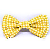 Ties handmade. Livemaster - original item Bow tie yellow white cell. Handmade.