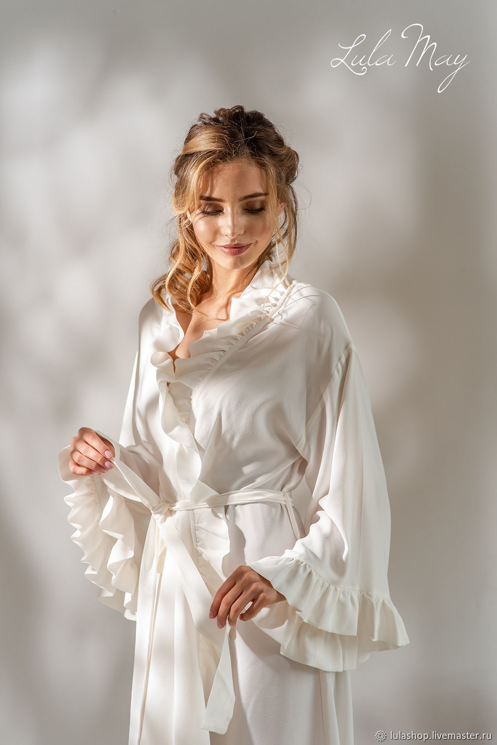 The gown is white silk EMILIA, Robes, Moscow,  Фото №1
