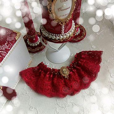 """Свадебный салон ручной работы. Ярмарка Мастеров - ручная работа Подвязка для невесты """"Бордовое кружево """". Handmade."""
