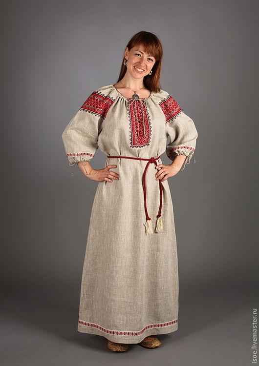Одежда ручной работы. Ярмарка Мастеров - ручная работа. Купить Славянская народная рубаха женская (серый лен с красным). Handmade.