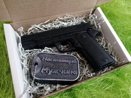 Подарки для мужчин, ручной работы. Ярмарка Мастеров - ручная работа. Купить Подарок на 23 февраля набор мыла пистолет и жетон. Handmade.