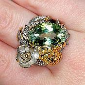 Украшения handmade. Livemaster - original item Lotus ring with green amethyst. Handmade.