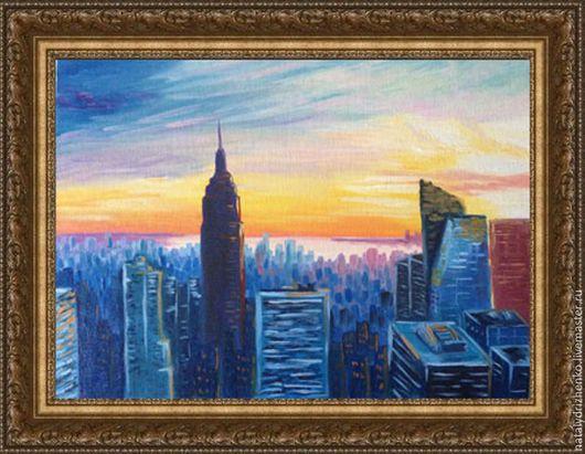"""Город ручной работы. Ярмарка Мастеров - ручная работа. Купить Картина маслом """"Ночной Нью-Йорк"""". Handmade. Разноцветный"""