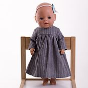 handmade. Livemaster - original item Clothes for dolls, dress for dolls made of natural linen. Handmade.