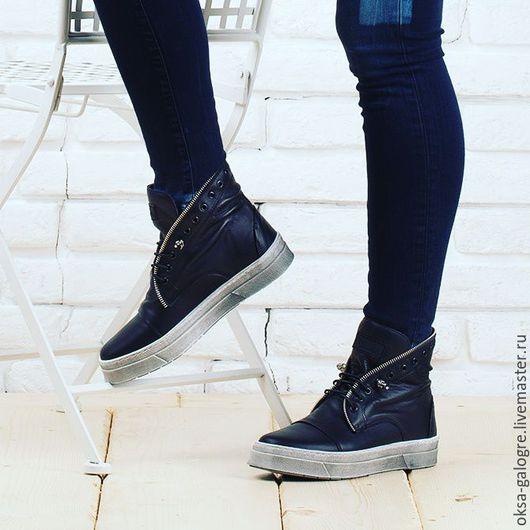 Обувь ручной работы. Ярмарка Мастеров - ручная работа. Купить Кеды. Handmade. Черный, индивидуальный пошив, натуральная кожа