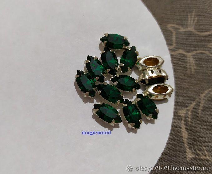 1pc Czech rhinestone 10h5mm Emerald Navette rhinestones in DACs, Rhinestones, Chelyabinsk,  Фото №1