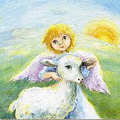 Картины и панно handmade. Livemaster - original item An angel a Lamb and the Sun Print of the painting children`s room decor. Handmade.