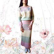 Одежда handmade. Livemaster - original item Dress knitted Spring pastel colors, striped, embroidery stitch. Handmade.