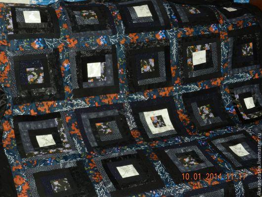 Текстиль, ковры ручной работы. Ярмарка Мастеров - ручная работа. Купить Лоскутное покрывало Ночное. Handmade. Черный, лоскутное шитье