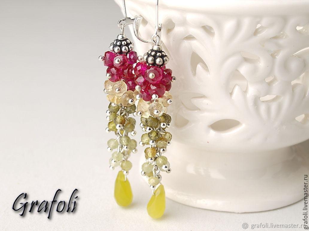 Earrings jewelry bunches of garnet, spinel, Earrings, Moscow,  Фото №1