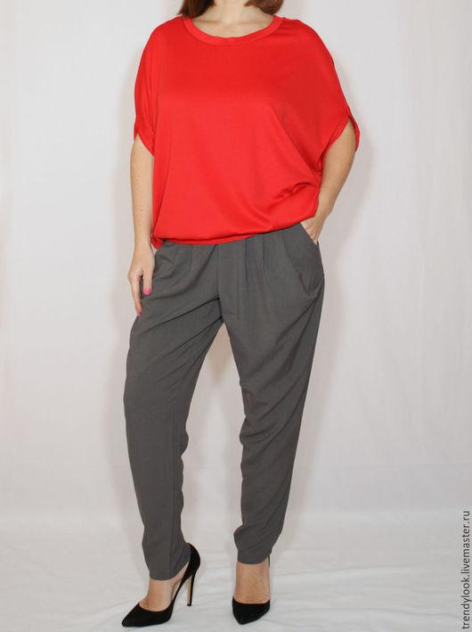 Брюки, шорты ручной работы. Ярмарка Мастеров - ручная работа. Купить Офисные серые брюки с карманами в гаремном стиле. Handmade.