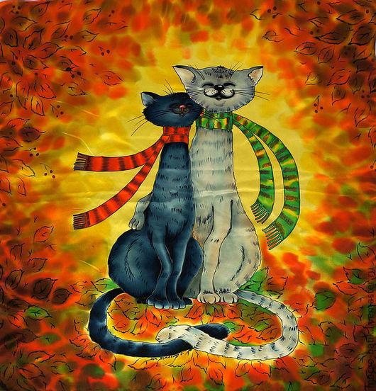 """Шали, палантины ручной работы. Ярмарка Мастеров - ручная работа. Купить Платок - батик """" Влюбленные коты"""". Handmade."""