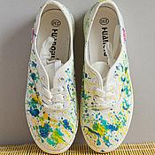 Обувь ручной работы. Ярмарка Мастеров - ручная работа Кеды с росписью Burst of Colors. Handmade.