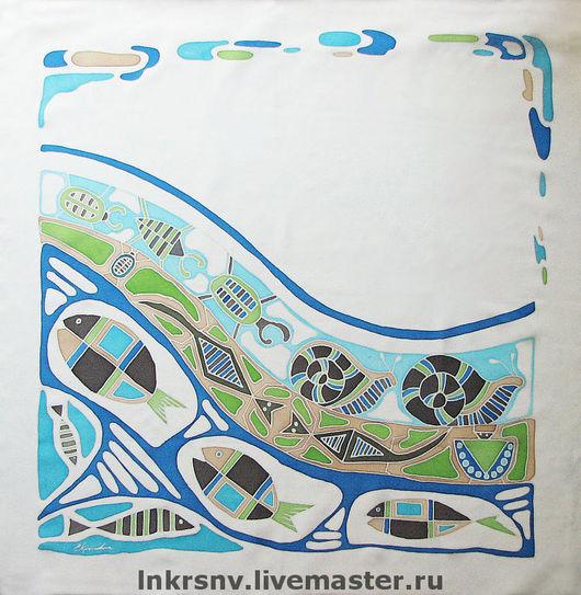 """Шали, палантины ручной работы. Ярмарка Мастеров - ручная работа. Купить Платок """"Земноводные"""". Handmade. Шейный платок, натуральный шелк"""