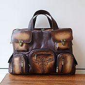 handmade. Livemaster - original item Men`s leather bag with custom engraving for Andrey.. Handmade.