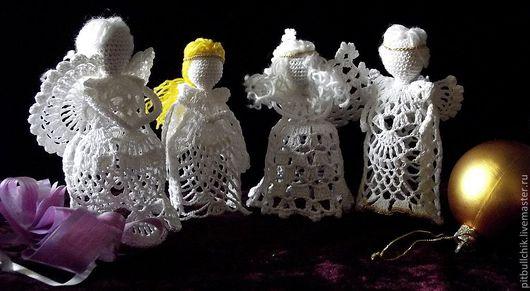 Подвески ручной работы. Ярмарка Мастеров - ручная работа. Купить Ангел вязаный. Handmade. Белый, вязаный, интерьерное украшение, бусины