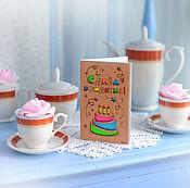 Открытки ручной работы. Ярмарка Мастеров - ручная работа Деревянная открытка #ENJOY «Тортик». Handmade.