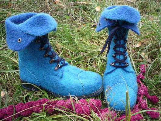 """Обувь ручной работы. Ярмарка Мастеров - ручная работа. Купить Ботинки валяные """"Скандинавия"""". Handmade. Тёмно-бирюзовый"""