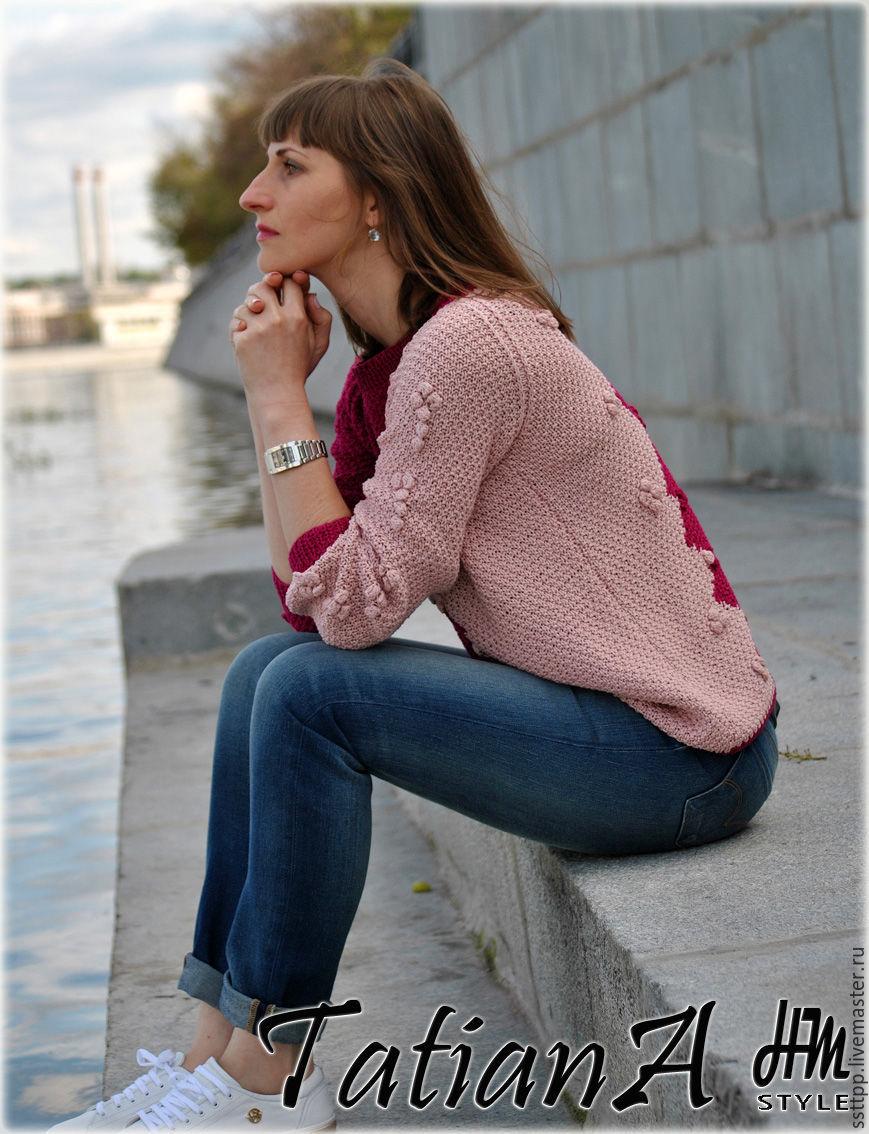 Двухцветные свитера женские вязаные доставка