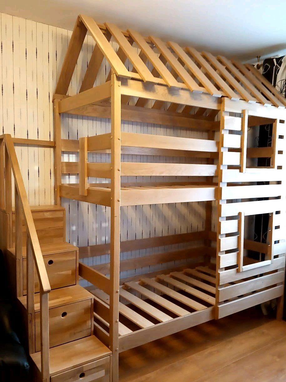 Дубовая кровать-домик№13+лестница-комод. Массив дуба, Кровати, Санкт-Петербург,  Фото №1