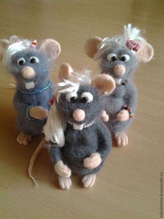 Игрушки животные, ручной работы. Ярмарка Мастеров - ручная работа. Купить мышка валяная. Handmade. Серый, шерсть для валяния