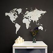 Для дома и интерьера handmade. Livemaster - original item World map world Map Wall Decoration White 130h78. Handmade.