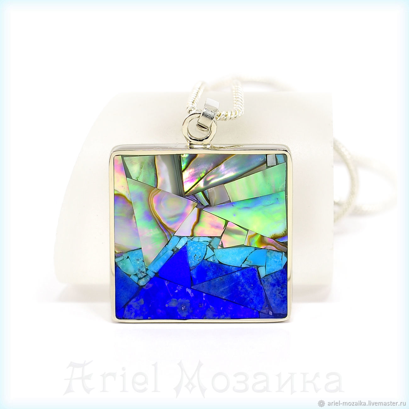 PENDANT `Mosaic landscape`. ARIEL - Alena - MOSAIC. Moscow. Pendant with lapis lazuli. Pendant with turquoise. Pendant with mother of pearl. Manual work of authorship.