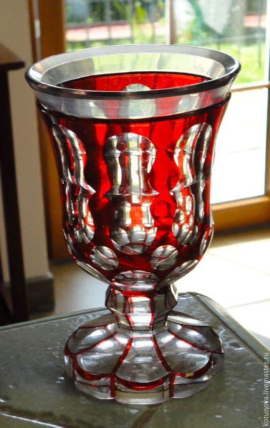 Винтажная посуда. Ярмарка Мастеров - ручная работа. Купить Рубиновый кубок-стакан Бидермейер 1840-70, фацеты. Без сколов.. Handmade.