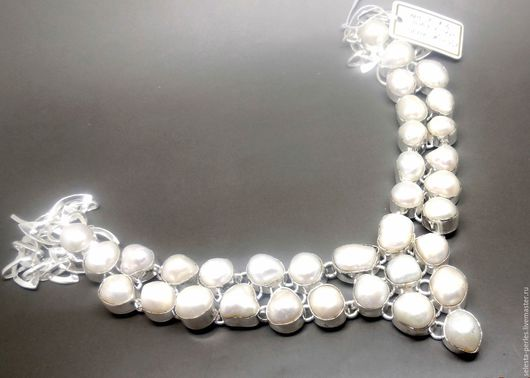 Для украшений ручной работы. Ярмарка Мастеров - ручная работа. Купить Белый жемчуг барокко в серебре / массивная подвеска. Handmade.