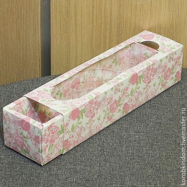 Коробка-пенал 22х5х5 с окном розовый цветочный принт, Материалы для творчества, Санкт-Петербург, Фото №1