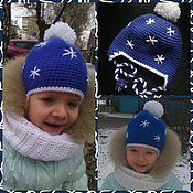 """Работы для детей, ручной работы. Ярмарка Мастеров - ручная работа Теплая зимняя шапка """"Снежинка"""" с подкладкой. Handmade."""