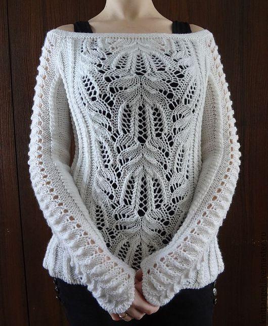 """Кофты и свитера ручной работы. Ярмарка Мастеров - ручная работа. Купить """"Белоснежность"""". Handmade. Белый, свитер с косами, свитер на заказ"""
