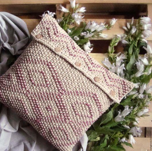 Текстиль, ковры ручной работы. Ярмарка Мастеров - ручная работа. Купить Вязаная декоративная подушка песочного цвета. Handmade. Бежевый
