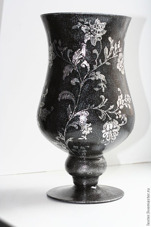 Вазы ручной работы. Ярмарка Мастеров - ручная работа. Купить Вазы ручной работы. Стеклянная ваза Серебро на чёрном. Handmade.