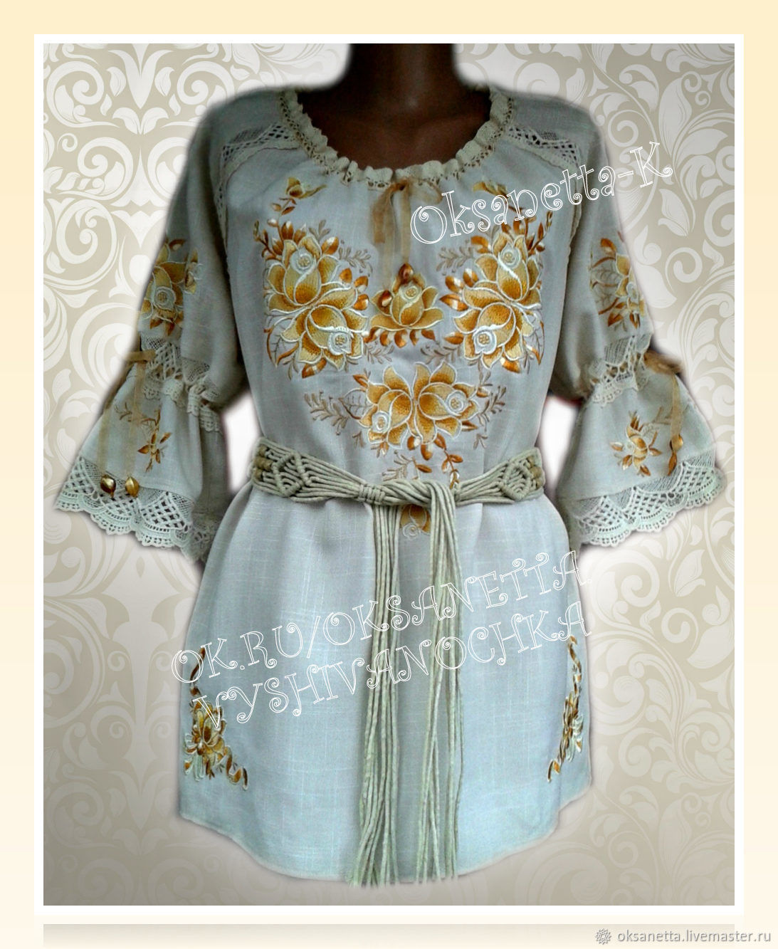 Blouses handmade. Livemaster - handmade. Buy Blouse with embroidery 'Golden roses'.Vintage, vintage style, vintage clothing