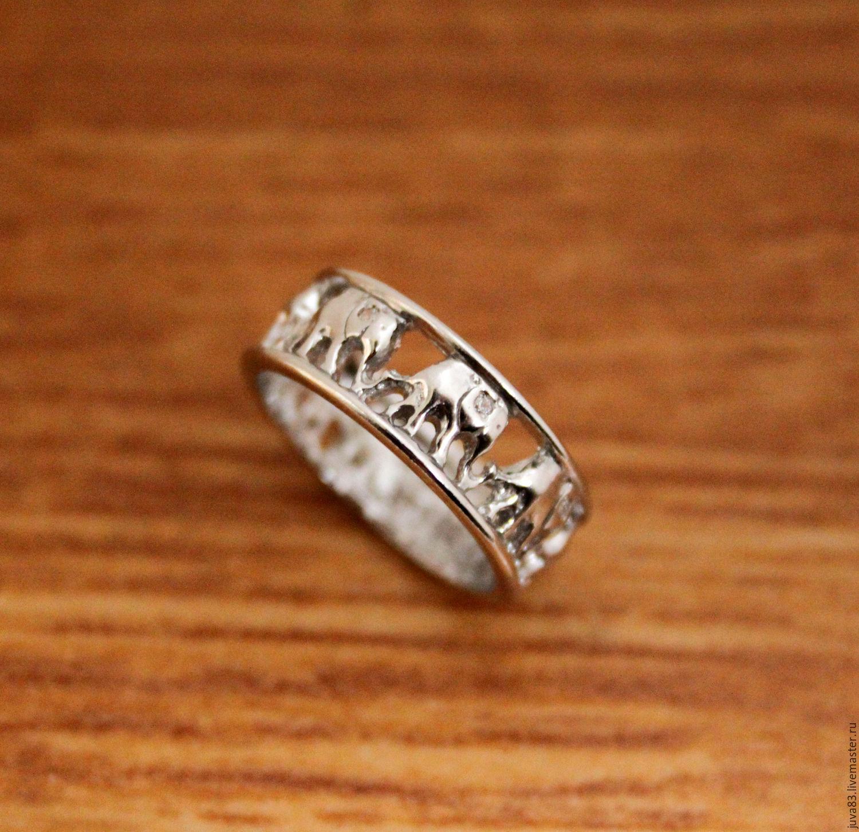 Кольца ручной работы. Ярмарка Мастеров - ручная работа. Купить Серебряное кольцо Слоники, серебро 925. Handmade. Серебро, слоник