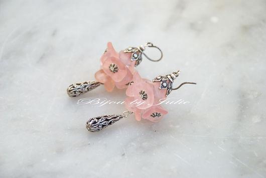 """Серьги ручной работы. Ярмарка Мастеров - ручная работа. Купить Серьги в винтажном стиле """"Bouquet"""". Handmade. Розовый, старинный стиль"""