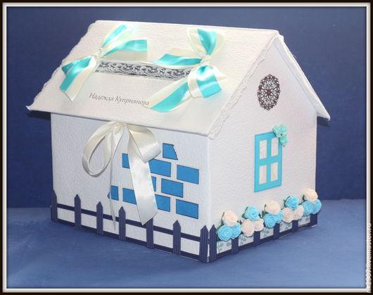 Свадебные аксессуары ручной работы. Ярмарка Мастеров - ручная работа. Купить Свадебная казна-домик для денег с открывающейся крышей. Handmade.